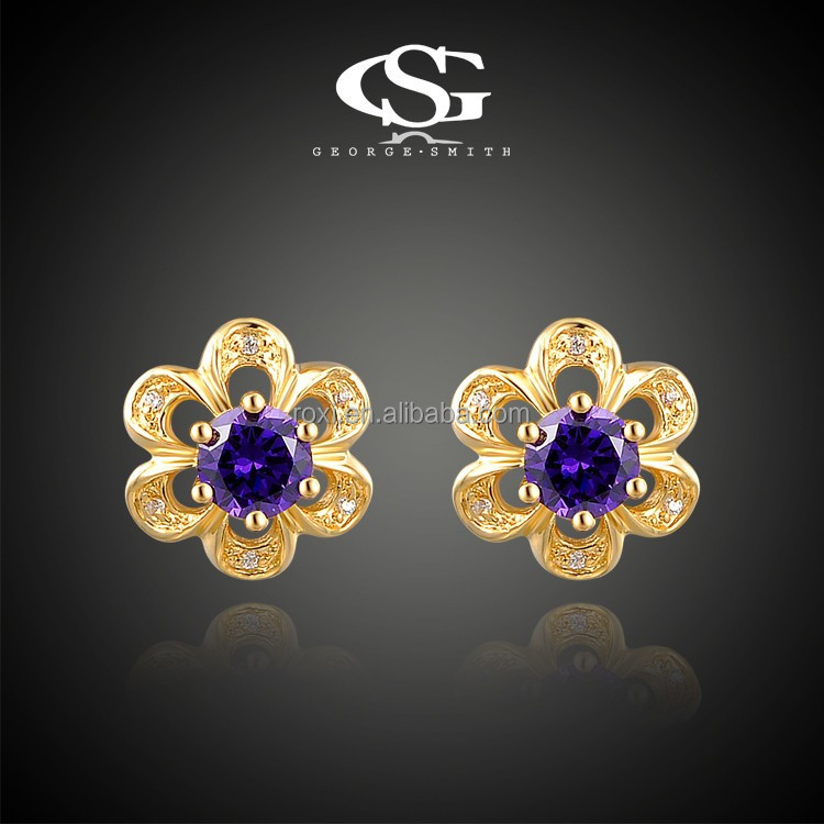 <strong>18</strong> <strong>k</strong> petals blue crystal stud earrings, <strong>gold</strong> plated earring