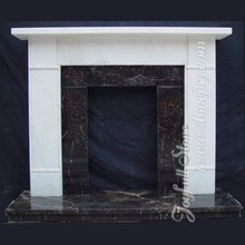 White Marble Modern Fireplace Designs