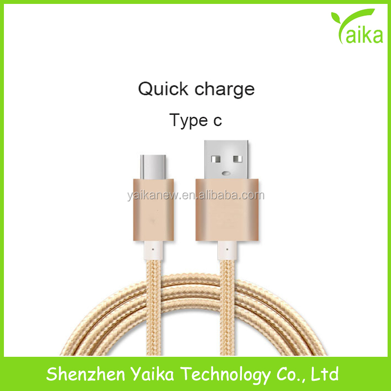 Yaika Wholesale Price 0.2m Nylon Braided Type C to Micro USB Adapter Data Sync Charging Cable for LeTV Android Phones