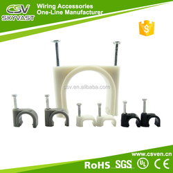 Free samples round white black plastic flat nail cable clamp 4mm wire mounting clip with certificate