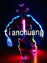 Glowing Light Clothes with Hats / Custom LED Costumes with Gloves and Shoes / Jazz Dance Clothing