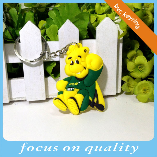 high quality micro injection rubber convex Finland yellow tv character design 3d animal shape pvc keychain