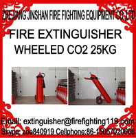 The most reliable and honest manufacture 25kg CO2 wheeled trolley fire extinguisher