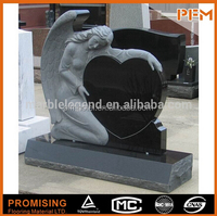 ,Angel Monuments,Angel with Heart Tombstones,Black Granite Headstone