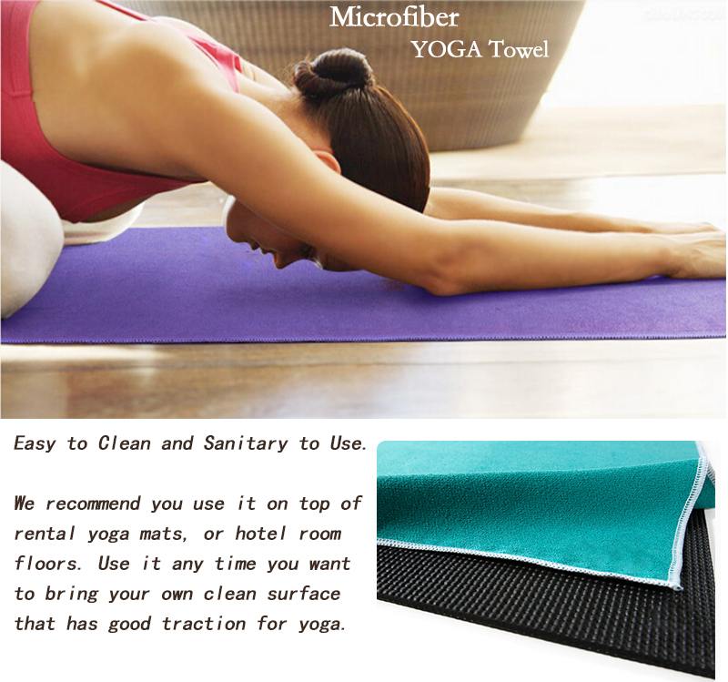 printing custom logo hot yoga mat with microfiber fabric size 24*72inch wholesale