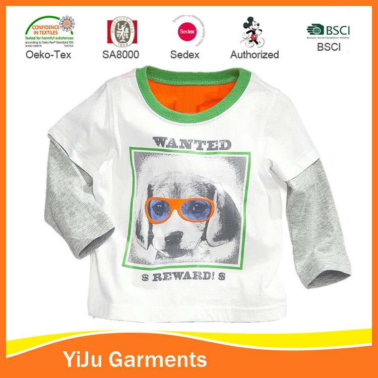 Combed cotton fashion tshirts for boys Children clothing with printing
