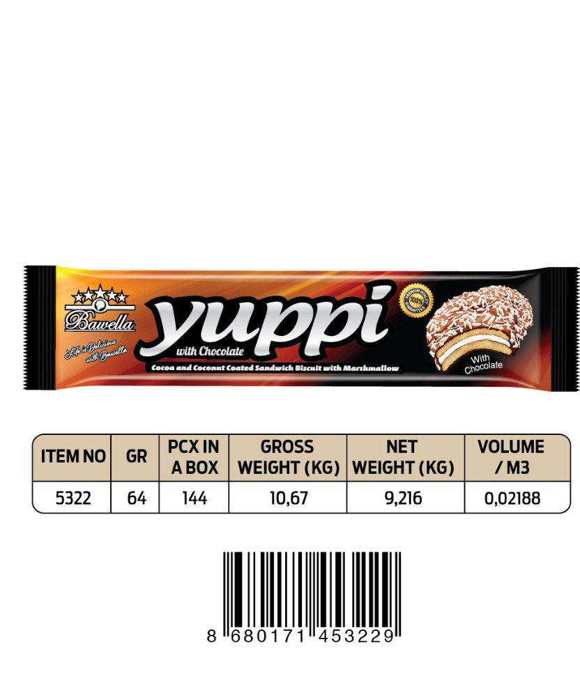 YUPPI COCA &COCONUT COATED SANDWICH BISCUIT WITH MARSHMALLOW