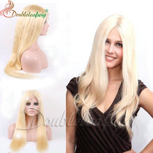 Blonde Brazilian very Long Hair full lace wig for white women Human hair