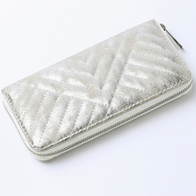 Yiwu Creditcard Organizer Clutch Zip Continental Silver Metallic Cardholder Quilted Money Wallet