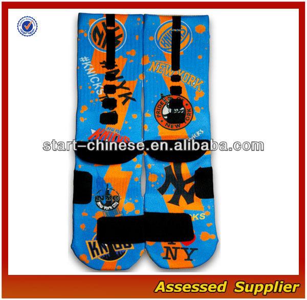 Hot Sale New York Custom Elite Basketball Socks/Wholesale Sublimated Elite Basketball Blank Sport Socks Shell108