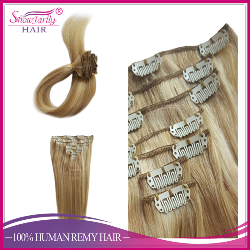 Top grade 120g 160g 220g 260g russian ombre balayage human virgin hair double weft clip in hair extensions