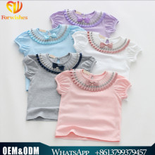 Kids modeling clothes pictures of girls cotton top tulle o-neck tshirts