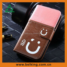 Cute Smile Face leather case for iphone5 Smiling face pattern Flip PU leather Cover