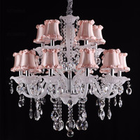 Replica White Crystal Chandelier Lighting Glass Lamp Shade Fabric
