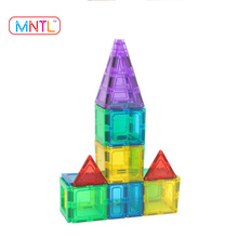 MNTL-100 Pieces Plastic Magnetic Tiles Building Blocks Toys For Kids Magnet Building Toy Construction for Preschooler