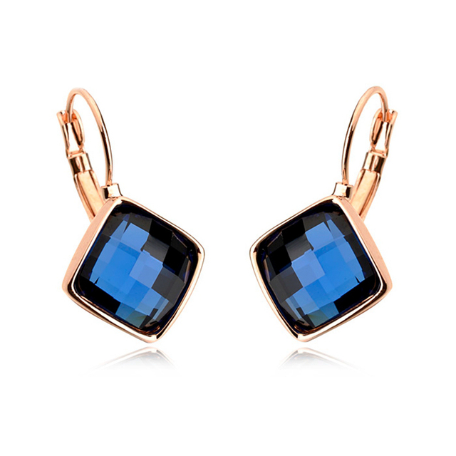 5 Colors Square Crystal Charm Dangle Earrings Rose Gold Plated Jewelry with Austrian Crystal