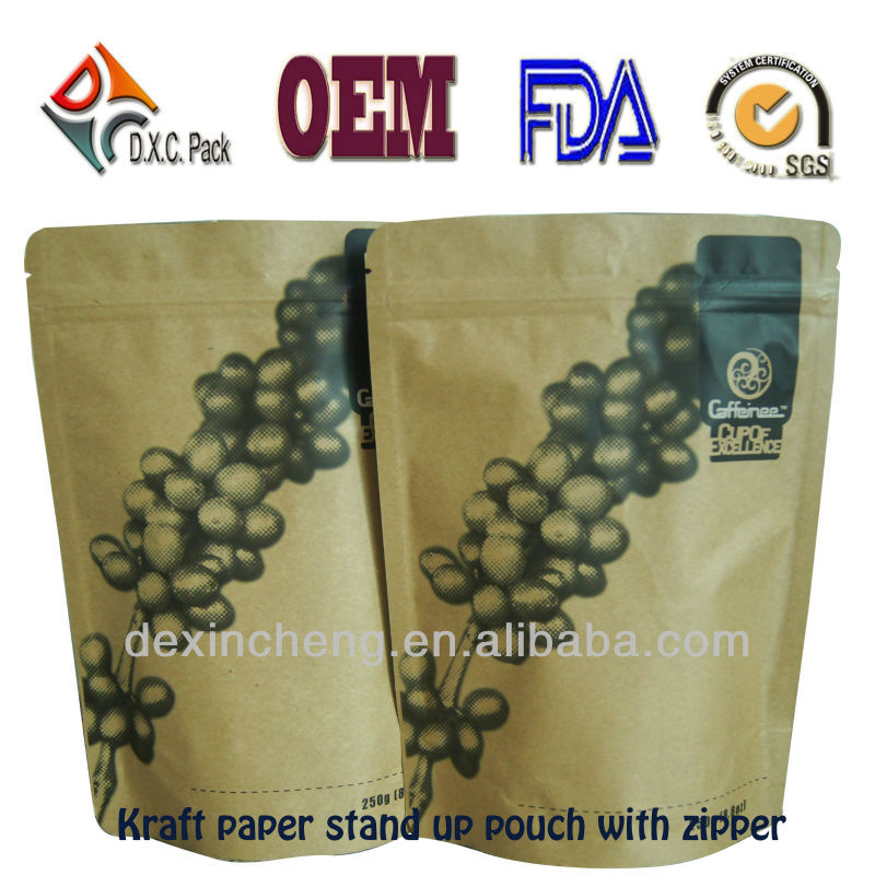 Brown Paper Whey Protein Powder Bags Packaging For Food Powder Doypack