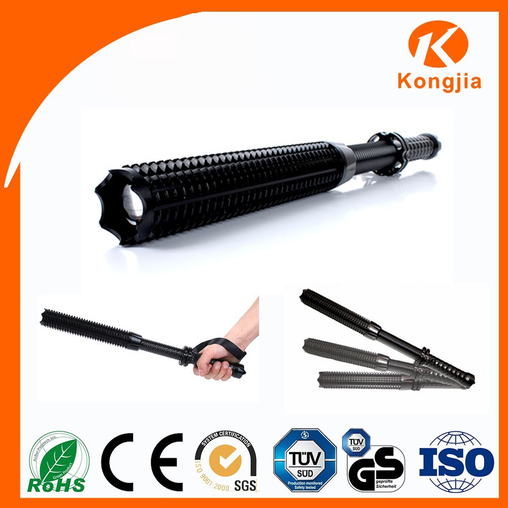 LED Metal Baseball Bat Zoomable Aluminium Rechargeable Ultra Bright Police Flashlight Self-defense Torch Light