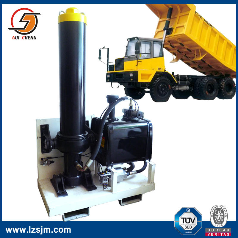 Dump Truck Hoist System With Hydraulic Steering Cylinder For front end loader
