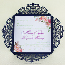 Water color floral laser cut wedding invitations, glitter invitations