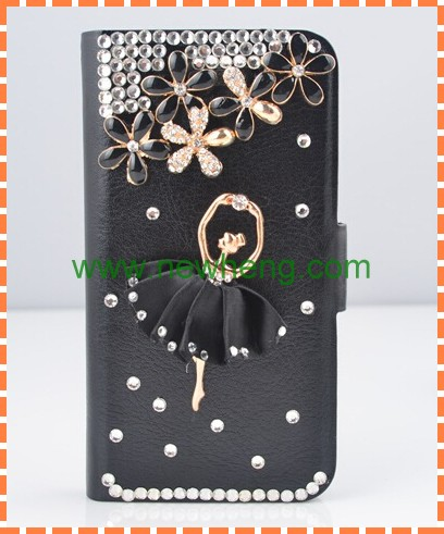 Ballet girl PU Flip Magnetic Leather Wallet Case for iPhone 4 4S 5