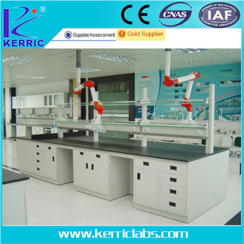Lab bench with Universal exhaust hood and portable sink