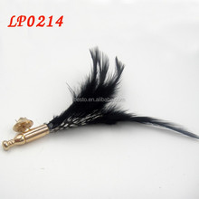 Fashion handmade brooch custom black feather lapel pin butterful clutch