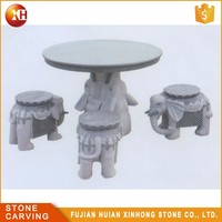 Outdoor Basalt Table And Chair , Garden Stone Table And Stools