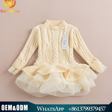 2015 Autumn & Winter Kids Girls Knit Sweater Dresses Baby girl tulle lace TUTU Winter princess jumper pullover dress