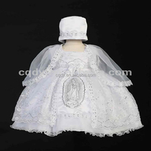 2018 new arrival White handmade smocked Christening Gown dress embroidery with Virgin Mary/chiffon Baptism Dresses for baby girl
