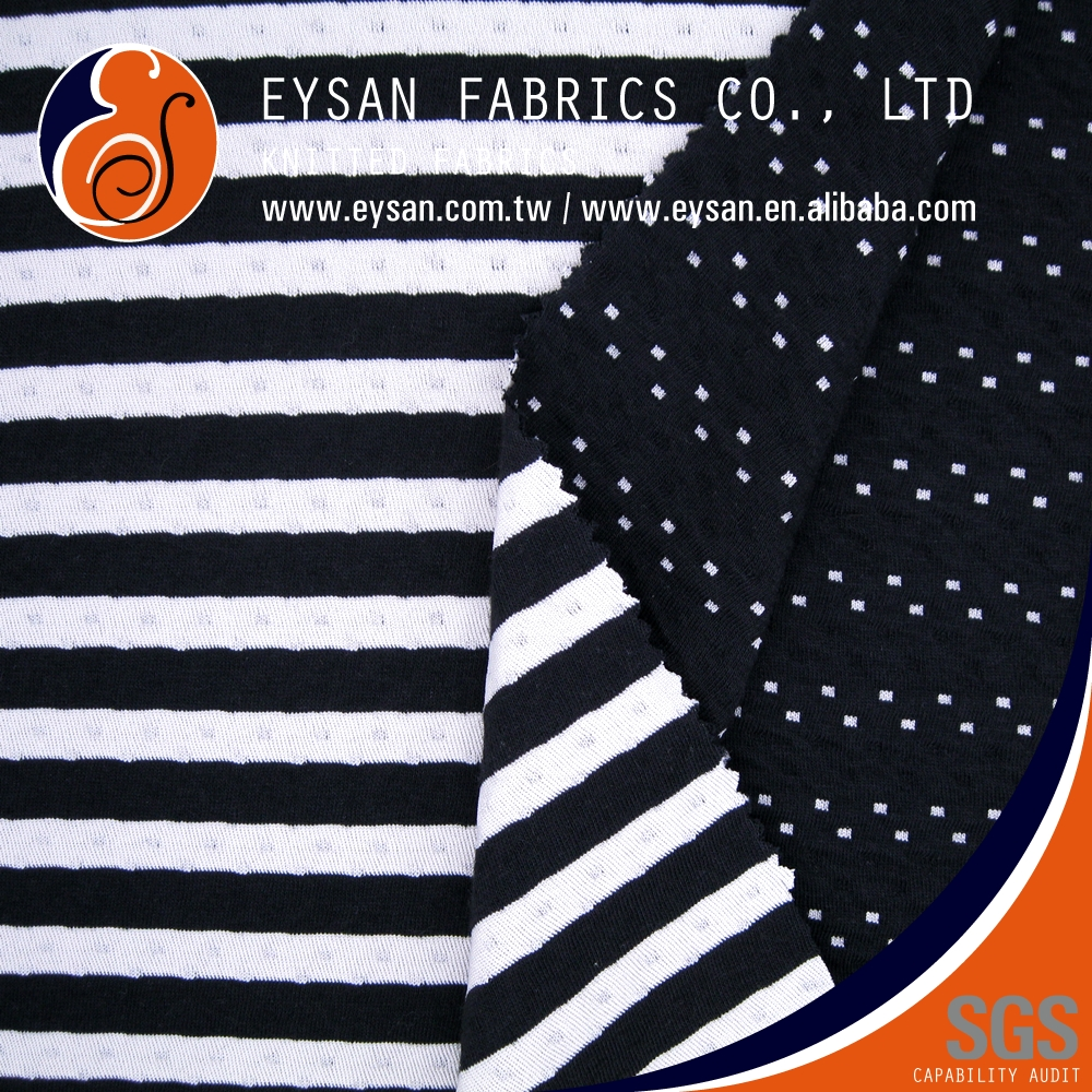 EYSAN Reversible Jacquard Striped Cotton Polyester Interlock fabric