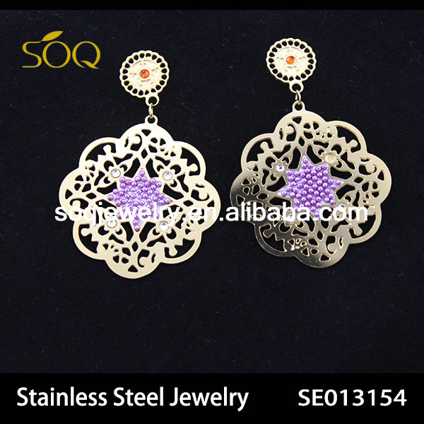 SE013154 special design hollow purple crystal stainless steel earring