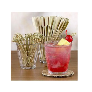 "3.6"" Twisted Knotted Bamboo Cocktail Drink Party Appetizer Picks"