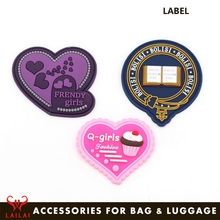 Fancy bag luggage accessory rubber soft pvc personalized labels tags brand patches bag labels