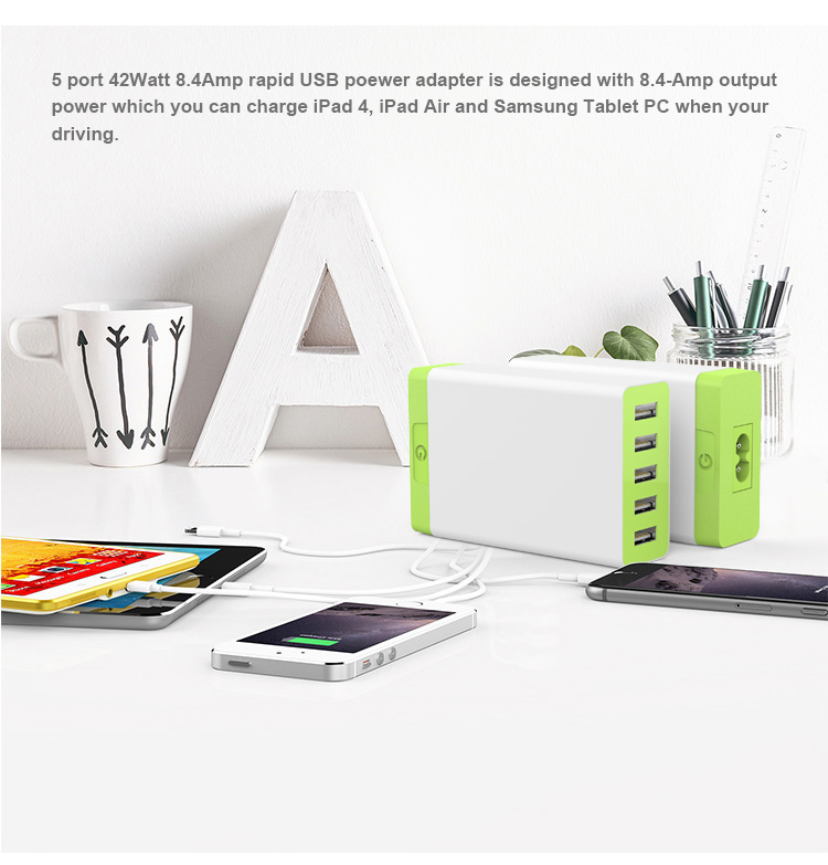 Hot Sale Power IQ Portable 5 Port USB Wall Charger Suitable For Smartphone/Tablets PC/GPS