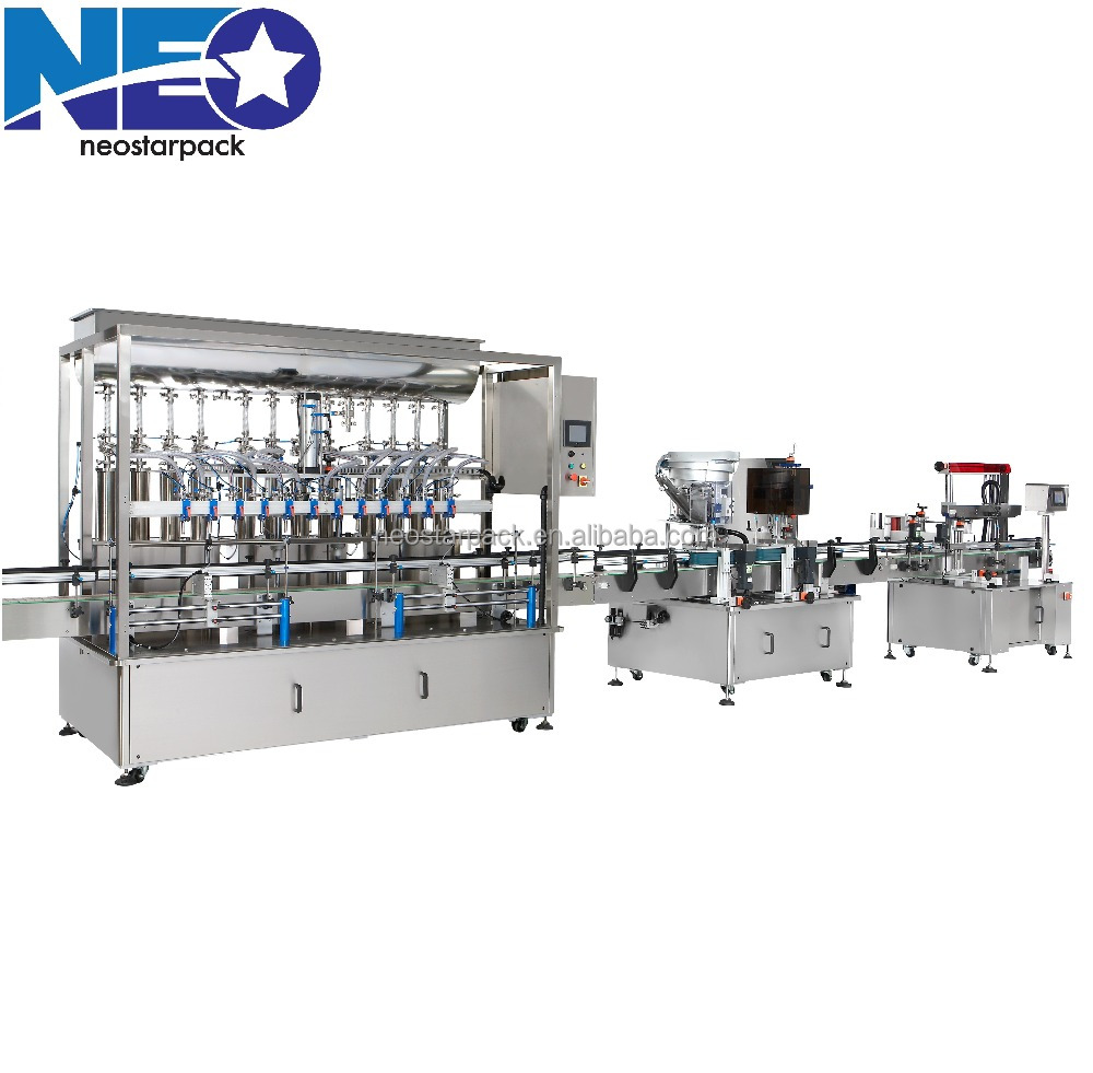 Filling capping and labeling machine automatic bottle bath cream packing machinery/ Oil filling Production Line