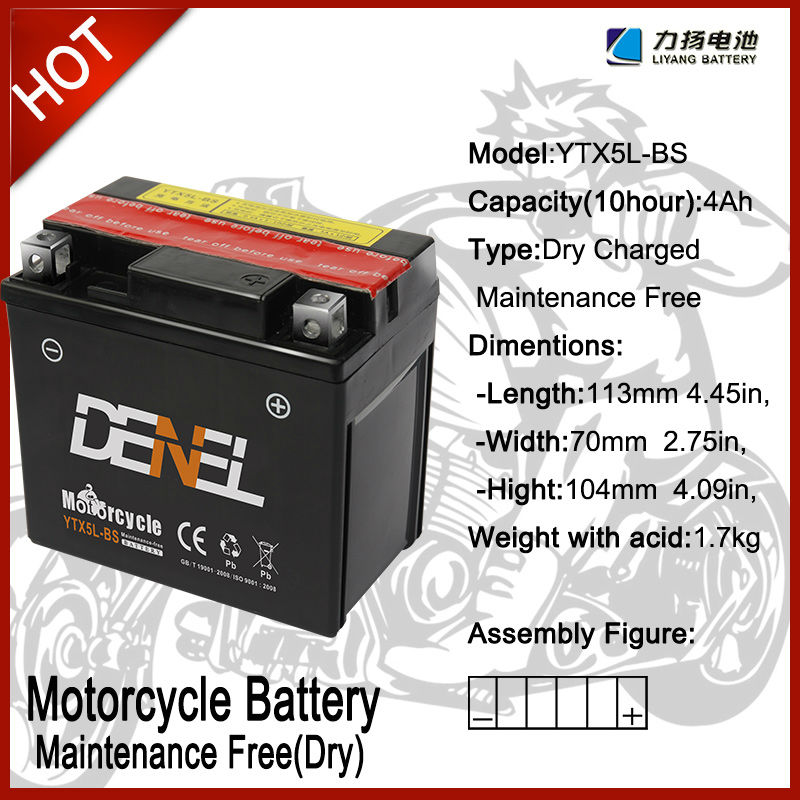 high power mf Motocicleta Batteries/E bike batteries12V 4AH YTX5L-BS