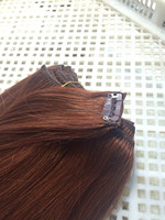 color 33 human hair for white women straight 3 wefts virgin remy hair extension clip in