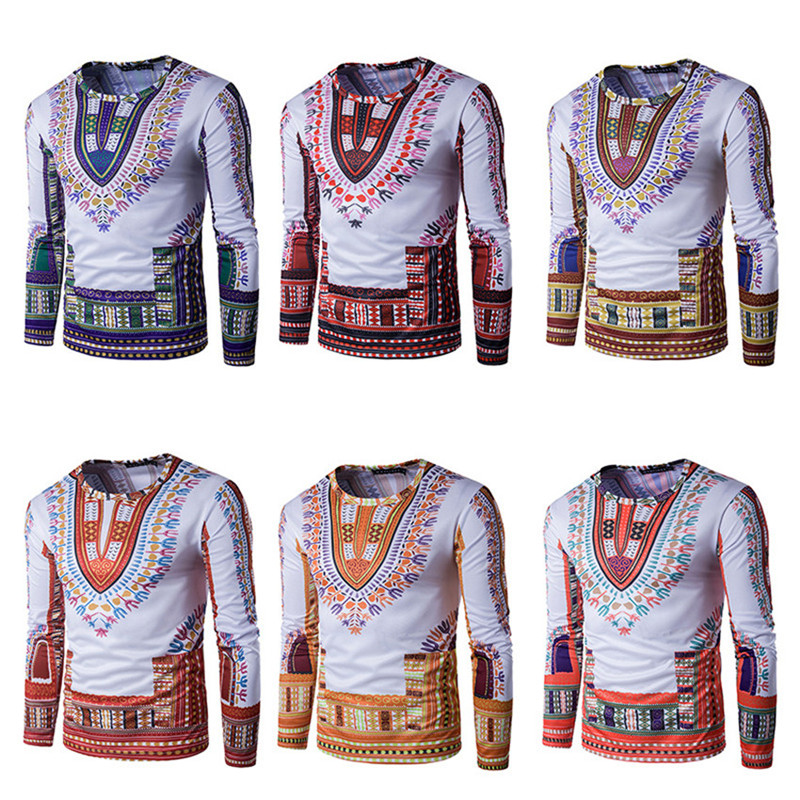 Ethnic Style 3D Printed Male t shirt Fashion Casual Floral Pattern Long Sleeve t-shirts Instagram Clothing
