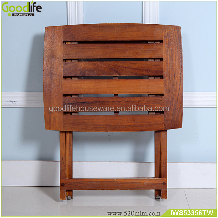 Solid teak wood in logs bath stool at folding sizes easy to take bath