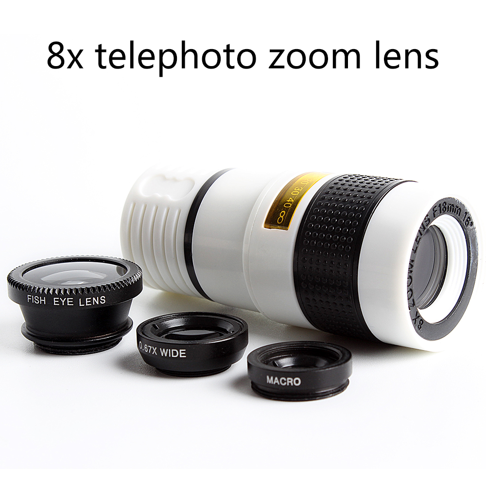 best selling 8x telephoto zoom wide angle macro fisheye 4in1 camera lens for smartphone