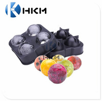 Ice Ball Maker Mould - Flexible Silicone Ice Cube Tray - Molds 4 X 4.5cm Round Ice Ball Spheres - Best for Whiskey, Highball