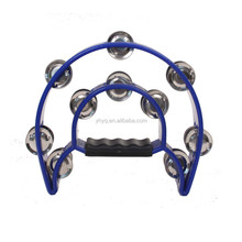 Toy for Child Blue Black Plastic Frame Metal Jingling Bells Tambourine
