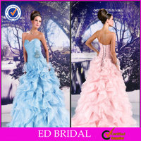 EDW392 Newest Sweetheart Beaded Ruffle Organza Gown Light Sky Blue Wedding Dresses