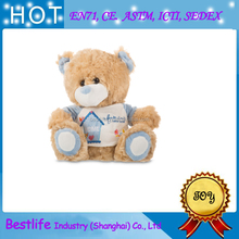 2017 European popular customize high level lovely T-shirt teddy bear plush toy with EN71 certificate
