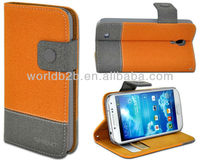 Newest Two Tone Stand Leather with hard Case Cover for Samsung galaxy S4 Mini,with card slots