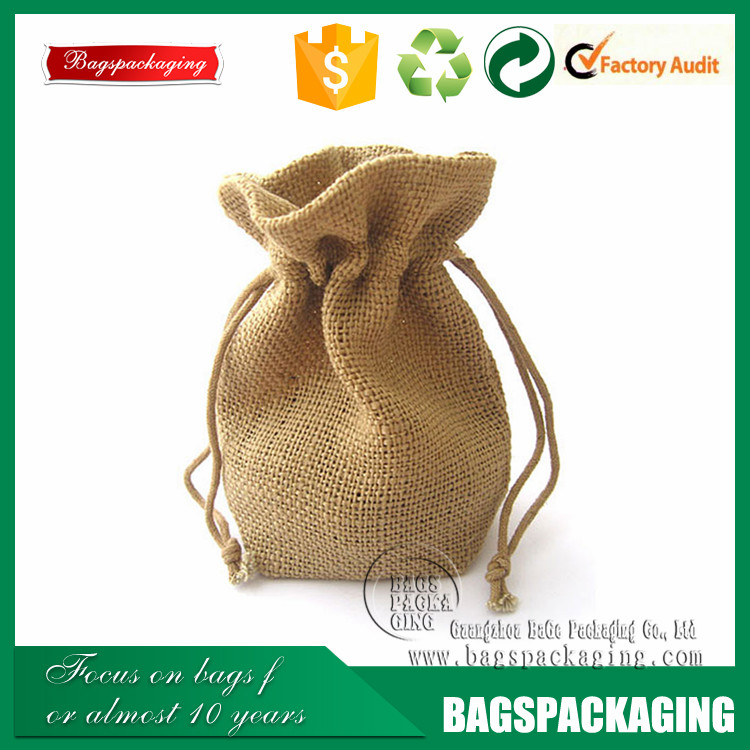 Small drawstring jute gunny pouch/burlap sack Jute pouch bag