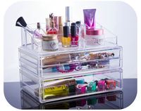ISO9001 Factory Custom Logo High Quality wholesale acrylic makeup organizer with drawers