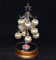 2016 hot selling christmas product, 15cm glass crystal tree with led light, round hangings, mirror bottom from ali baba shopping
