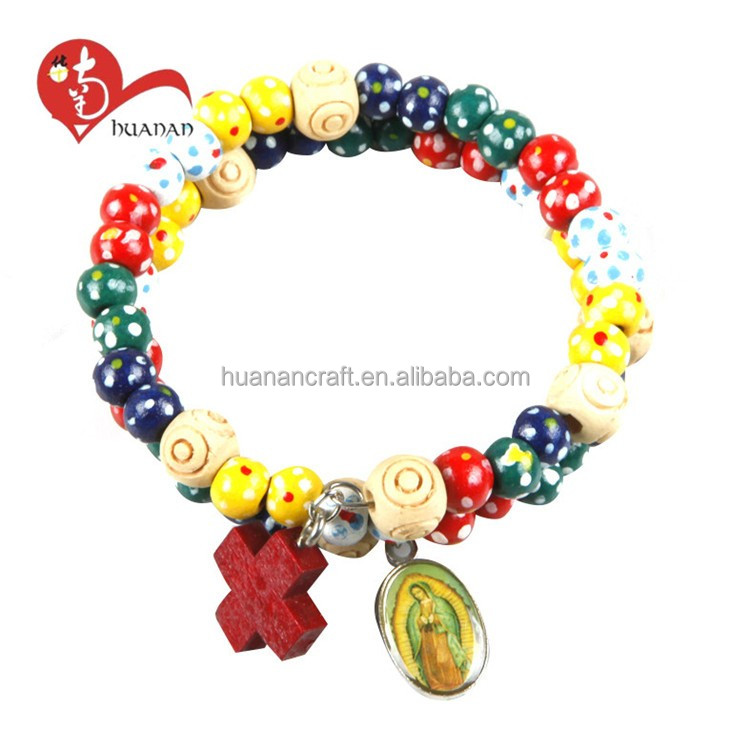 Wooden beads colorful catholic wrap rosary bracelet with holy pictures